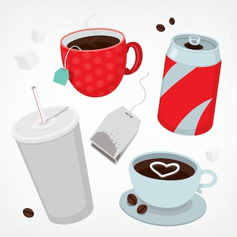 Different types of drinks set