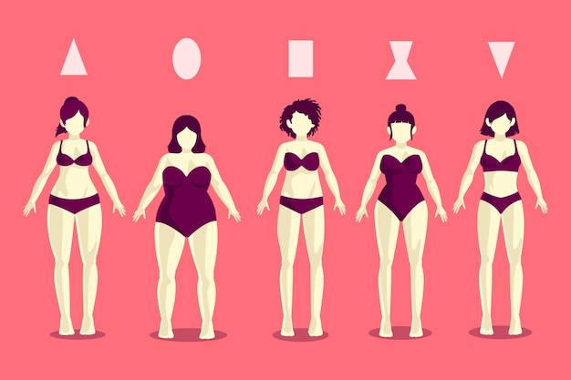 Different types of female body shapes