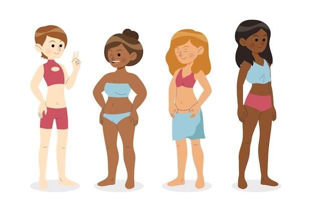 Diversi tipi di forme del corpo femminile