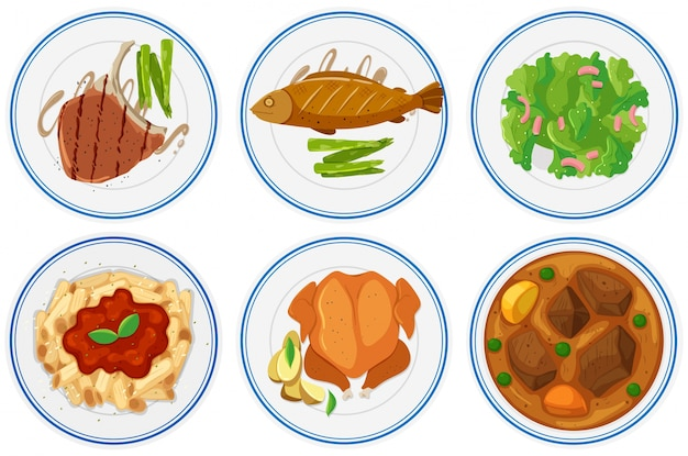 Different types of food on the plates illustration