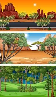 Diversi tipi di scene orizzontali della foresta Vettore gratuito