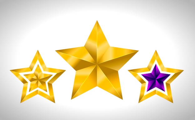 Different types and forms of gold stars. illustration for  on white background