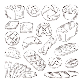 Different types of fresh bread. vector hand drawn illustrations of bakery foods