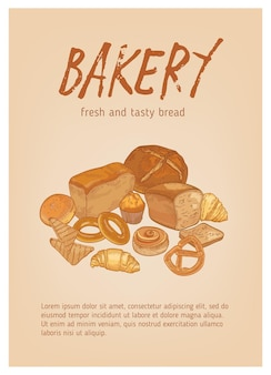 Different types of fresh, tasty bread, pastry or baked products