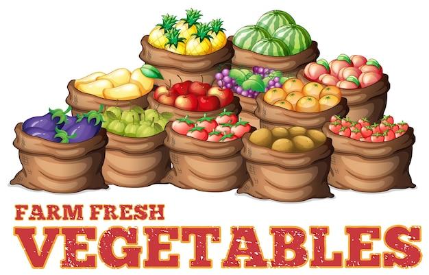 Diversi tipi di verdure fresche