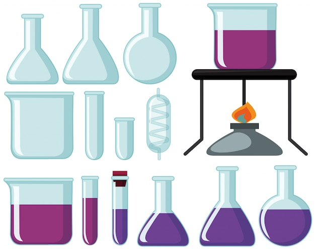 Different types of glass beakers for science experiment