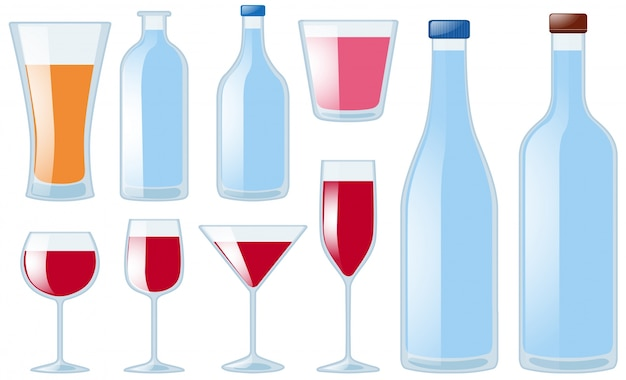 Diversi tipi di bicchieri e bottiglie