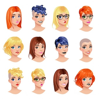 Different types of hairstyle Free Vector