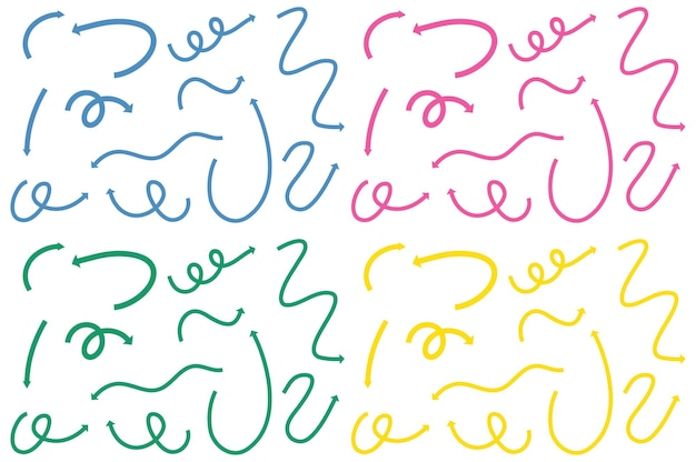 Diversi tipi di frecce curve disegnate a mano su bianco
