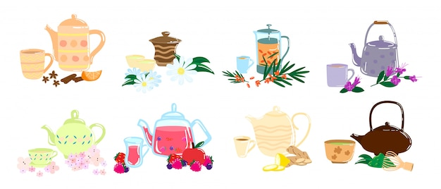 Different types of healthy tea.