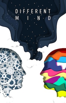 Different types of human mind vector poster paper cut man head silhouettes with gears and creative a...