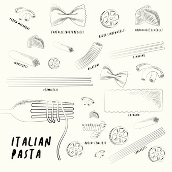 Different types of italian pasta.