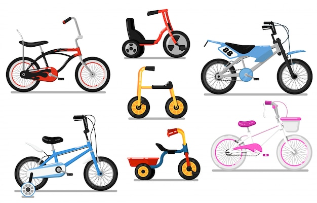 Different types kids bicycle isolated vector set