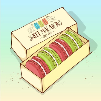 Different types of macarons in the box, hand drawn sketch and color.