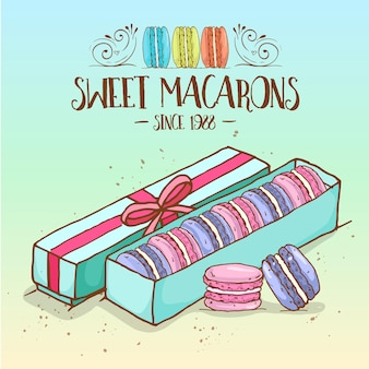 Different types of macarons in the box with ribbon, hand drawn sketch and color.