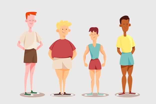 Diversi tipi di forme del corpo maschile
