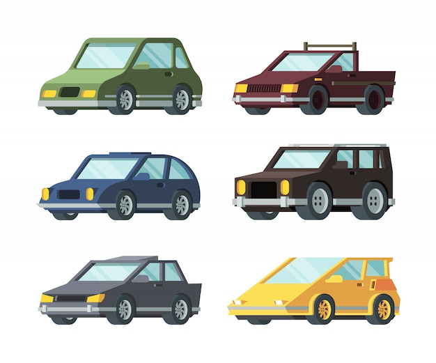 Different types of modern cars flat vector illustrations set