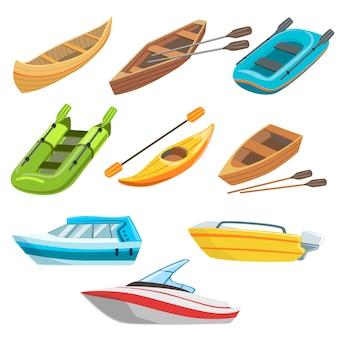 Красочный набор разных видов лодок