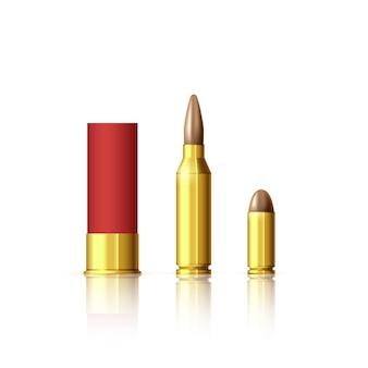 다양한 유형의 카트리지. 현실적인 총알과 카트리지. 그림 흰색 절연