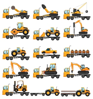 다양한 유형의 건설 트럭