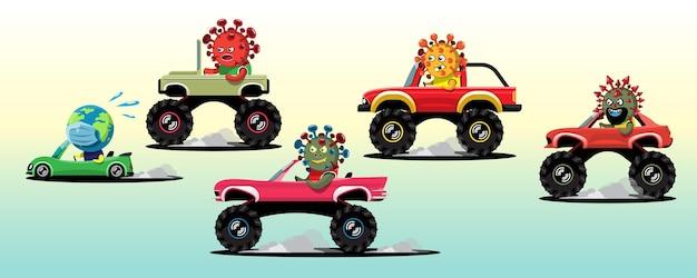 4x4 차량의 다양한 유형의 코로나 바이러스