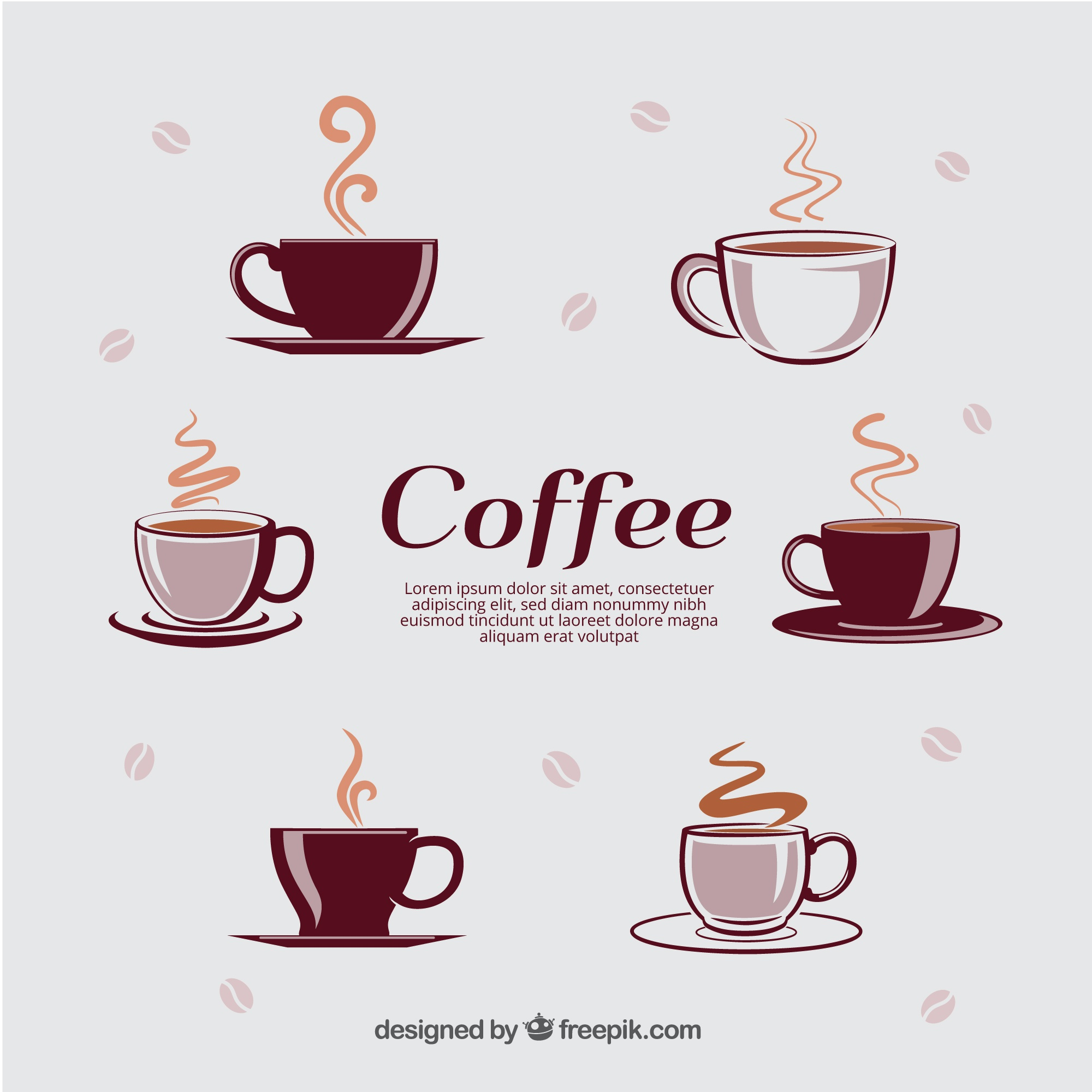 Different types of cups with hot coffee