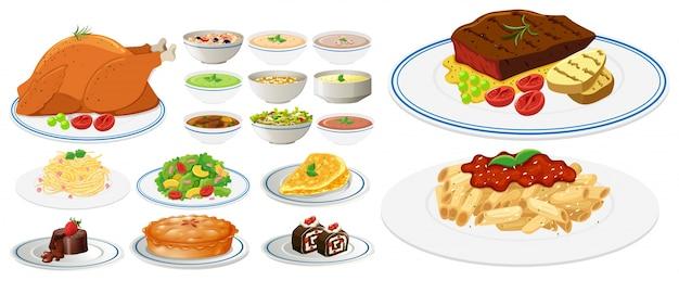 Различные виды пищи на тарелках