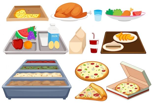 Различные типы продуктов питания на whtie-фоне