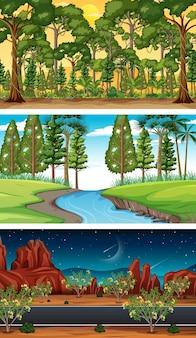 さまざまな種類の森の水平方向のシーン Premiumベクター
