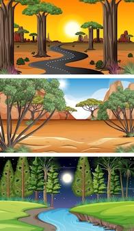 다양한 유형의 숲 가로 장면