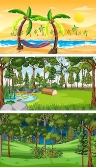 さまざまな種類の森の水平方向のシーン