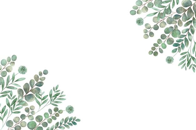 隅のコピースペースにあるさまざまな種類の葉