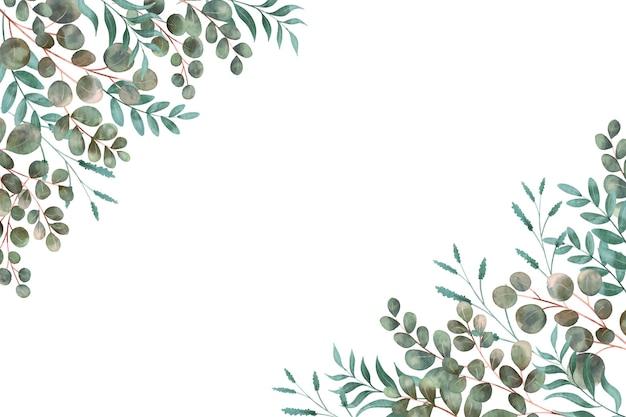 모서리에있는 다양한 종류의 잎