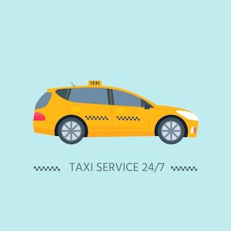 흰색 배경에 고립 된 기계 노란색 택시의 종류. 공공 택시 서비스 개념입니다. 평면 벡터 일러스트 레이 션.