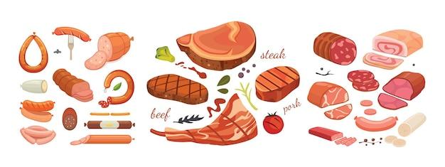 さまざまな種類の肉製品が漫画風のデザインを設定します