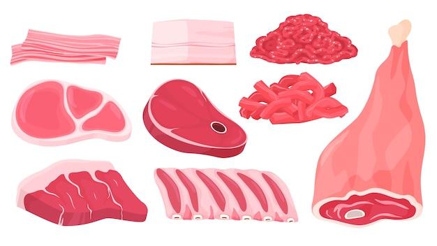 다양한 종류의 고기. 송아지 고기, 돼지 고기. 스테이크, 갈비, 라드, 다진 고기, 돼지 다리.