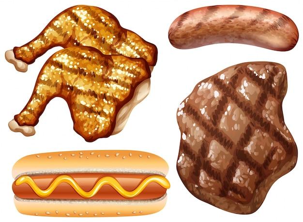 Различные виды мяса на гриле