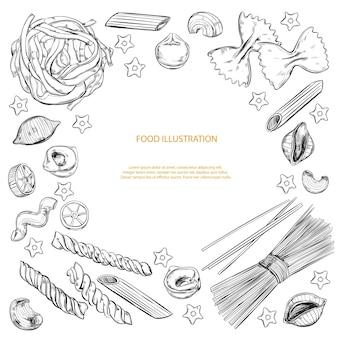 Различные виды макарон, изолированные на белом фоне