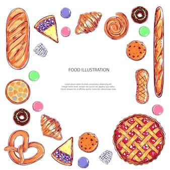 Различные виды выпечки и тортов с фруктами