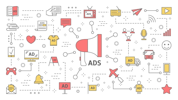 다양한 유형의 제품 광고 개념. 디지털 및 옥외 광고. 소셜 미디어의 상업 광고 및 고객과의 커뮤니케이션. 라인 아이콘의 집합입니다. 삽화