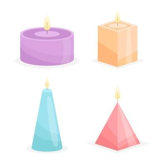さまざまな種類の香りのキャンドル
