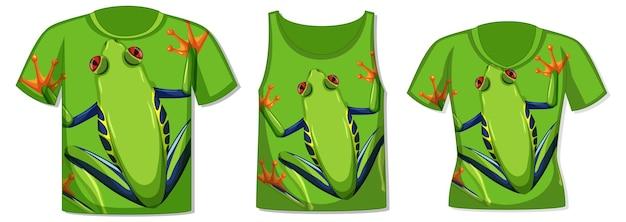 緑のカエルのパターンを持つさまざまな種類のトップス