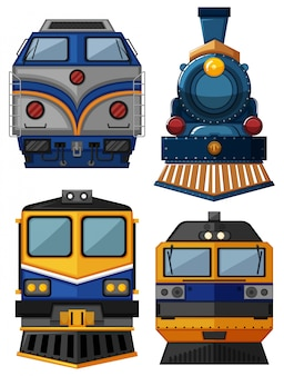 Different types of trains illustration