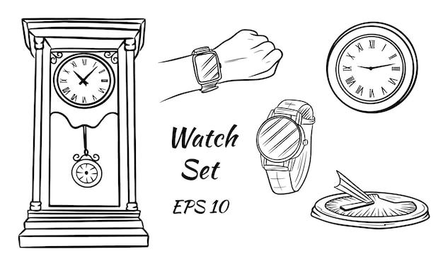 さまざまな種類の時計。ソーラー、壁、手首。アンティーク時計。