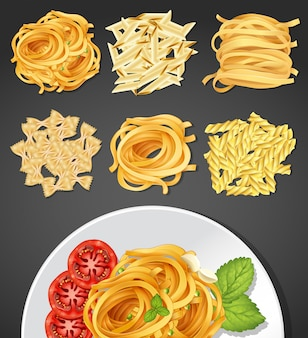 Different types of pasta and pasta dish