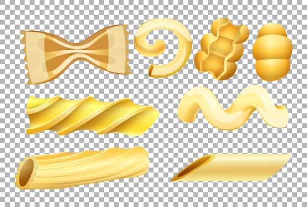 Different types of pasta on transparent background