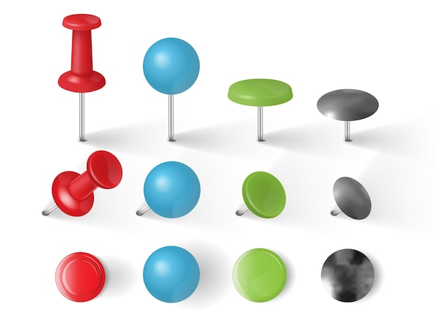 Different types of push pins, thumbtacks isolated on white background vector