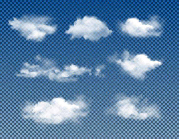 Different types of realistic clouds realistic vector set isolated on transparent background