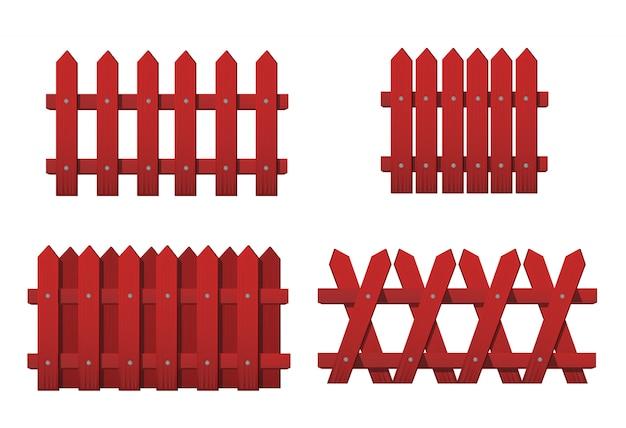 さまざまな種類の赤い木製のフェンス。白で隔離される赤い庭のフェンスのセット