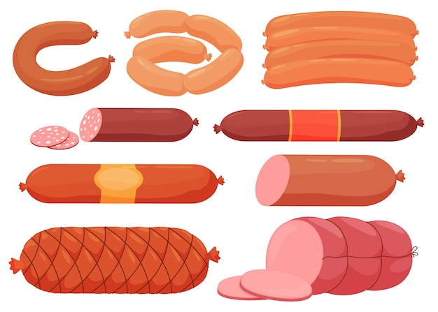 Different types of sausage, sliced sausage, doctor's.